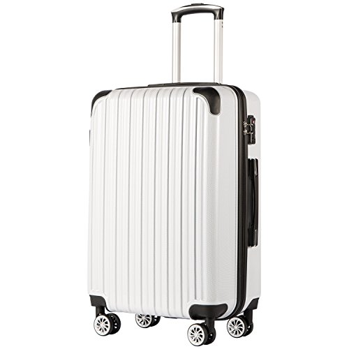 Coolife Luggage Expandable(only 28') Suitcase PC+ABS Spinner 20in 24in 28in Carry on (white grid new, L(28in))
