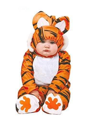 COOLMP Déguisement Combinaison Tigre Orange et Noir bébé - Taille 1 à 2 Ans (92-93 cm) - Déguisement pour Enfant, garçon et Fille, Anniversaire, Carnaval