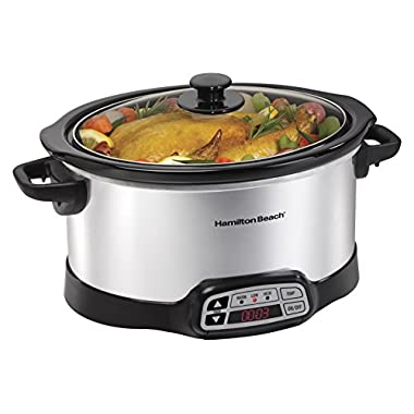 Hamilton Beach Programmable Slow Cooker, Silver, 6-Quart, Stainless Steel (33660)