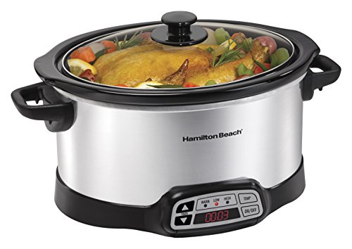 Hamilton Beach 6-Quart Programmable Slow Cooker With Digital Timer, Dishwasher-Safe Crock & Lid (33660)