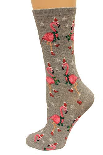 HotSox Womens Santa Flamingos Socks, Sweatshirt Grey Heather, 1 Pair, Womens Shoe 4-10