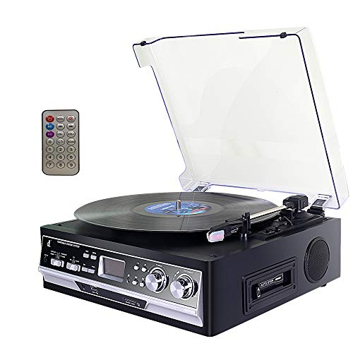 Giradischi, Record Player in Vinile DLITIME con Radio Stereo/Lettore AM/FM/RCA/AUX/Bluetooth AM&FM