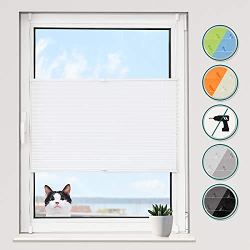 Grandekor Plissee Klemmfix Plisseerollo ohne Bohren (90x130cm Weiß), Fensterrollo Faltrollo Easyfix lichtdurchlässig Sicht- & Sonnenschutz für Fenster & Tür