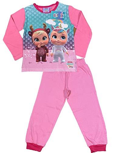 Cry Babies Pijama de niña original de dos piezas, camiseta y pantalón de algodón fucsia 2 años