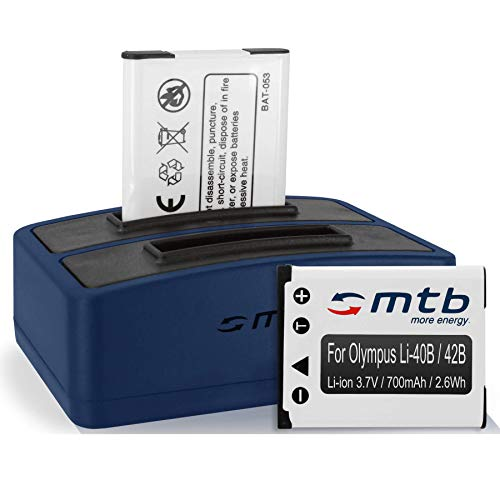 2 Baterías + Cargador Doble (USB) Li-40b/42b para Olympus FE-, mju, µ, TG, VG, VR, X. - Ver Lista de compatibilidad