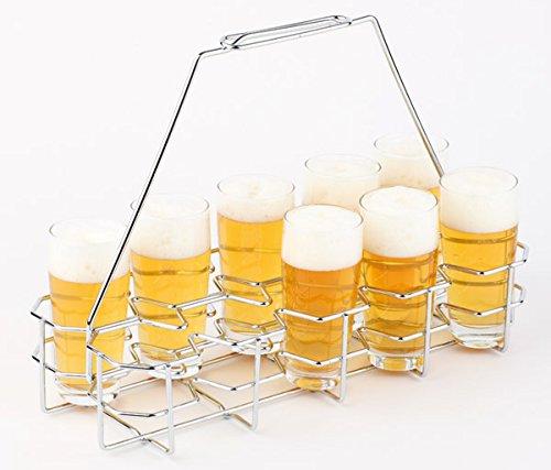 APS Bierglasträger aus verchromten Metall für 10 Gläser der Glasgrößen 0,2 - 0,3 Liter, 40 x 16,5 x 29 cm, großer Bierträger mit praktischem Griff für Feiern, Vatertag, Partys, Geburtstagsfeiern