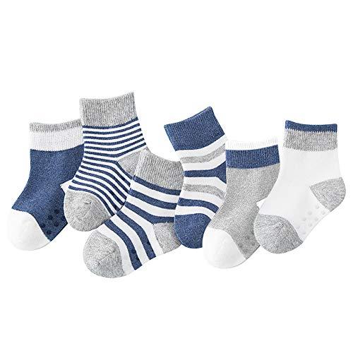 Yoofoss Calcetines para bebés Calcetines antideslizantes para niños pequeños 6 pares de calcetines antideslizantes de algodón para bebés y niñas