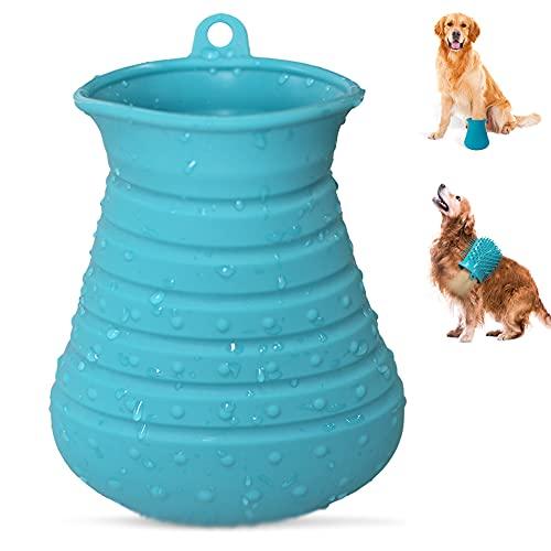 Cebese Haustier Pfoten Reiniger, 2 in 1 Tragbare Hunde Pfotenreiniger Tasse Silikon...