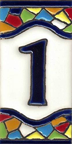 TORO DEL ORO Números casa. Numeros y Letras en azulejo. Ceramica esmaltada, Pintados a Mano técnica Cuerda Seca. Nombres y direcciones. Diseño Mosaico Mediana 5,5x10,5 cm (Número uno'1')