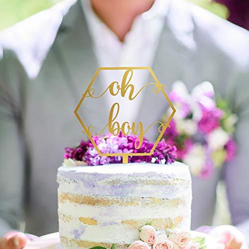 Aangepaste Baby Douche Cake Topper, Gepersonaliseerde Oh Boy Cake Topper voor Pasgeboren Goud