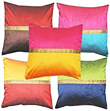 PINK PARROT Fabric Decorative Embroidered Cushion Covers (16x16-inch, 40x40cm, Multicolour) - Set of 5 Pieces