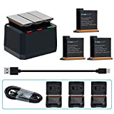 COOLSHOW OSMO Action Camera Battery Rechargeable 3 Pack and 3 Channel USB Charger for DJI OSMO Action Camera