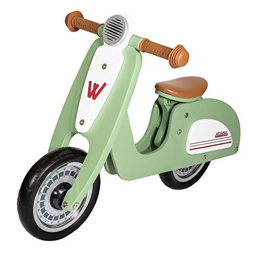WOOMAX - Bicicletta senza pedali in legno, Vespa legno, bici scooter, bicicletta per bambini, bici senza pedali per bambini 2 anni, max 25 kg, da 24 mesi a 5 anni (85378)