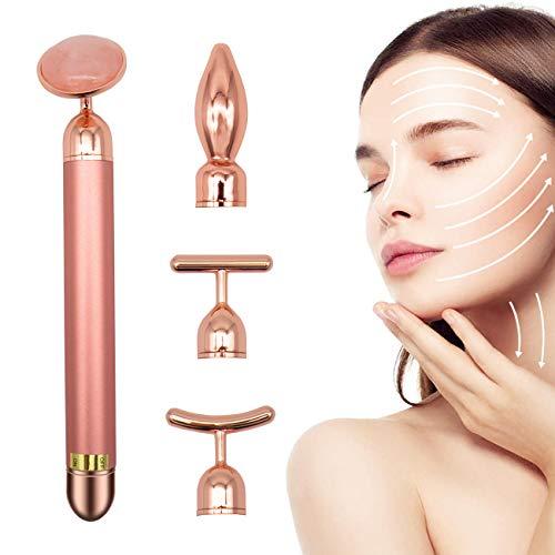 MQ 24K Golden Facial Massager Face Massager, Natural Jade Roller Beauty Bar, 4 in 1 Arm Eye Nose Rose Quartz Massager Kit for Face & Neck, Anti Aging Treatment - Reduce Wrinkles, Relax Meridian