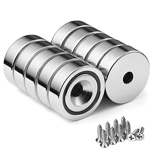 BTLIN Neodym Magnete mit Loch, Topfmagnet Nyodym Magnete mit Senkkopf und Schrauben 22LB Haftkraft, 10 Stück