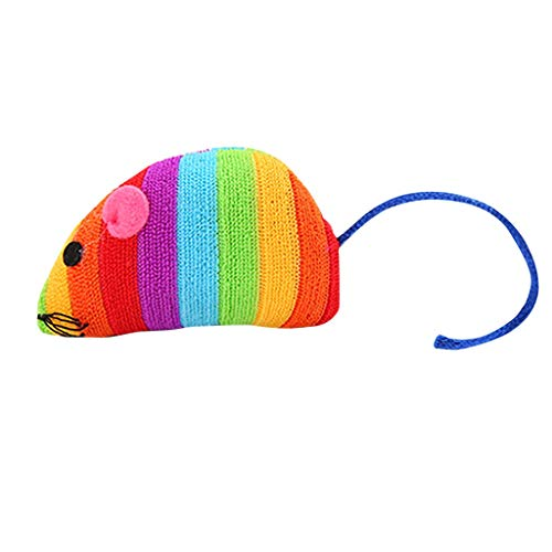 Cat Toy Rainbow Plush Mouse Toy Simulation Mouse Toy Interactive Cat Toy