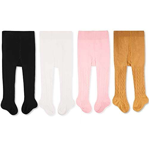 CozyWay Baby Girls Tights Cable Knit Leggings Stockings Cotton 1/3/4/5 Pack Pantyhose Infants Toddlers 0-4t
