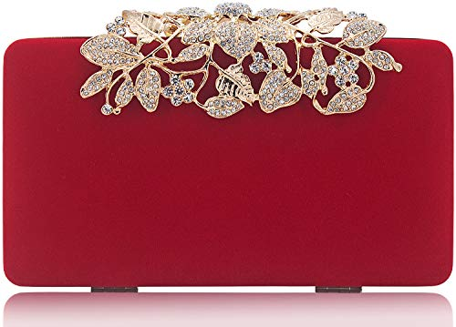 Womens Evening Bag with Rhinestone Crystal Flower Closure Velvet Clutch Purse for Wedding Party Red