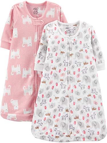 Simple Joys by Carter's Mädchen 2er Pack Microfleece Schlafsack, tragbare Decke, rosa Katzen/Tiere, 0-3 Monate, bis zu 5,7 kg