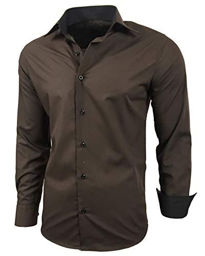 Baxboy Herren-Hemd Slim-Fit Bügelleicht Für Anzug, Business, Hochzeit, Freizeit - Langarm Hemden für Männer Langarmhemd R-44, Farbe:Braun, Größe:L