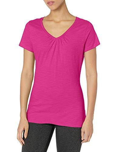 Hanes Women's Shirred V-Neck T-Shirt, Amaranth, XX-Large