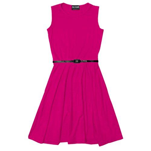 A2Z 4 Kids® Mädchen Skater Kleid Kinder Sommer Party Mode Kleider - Skater Sleeveless Cerise 13