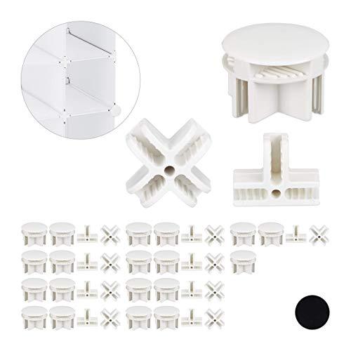 Relaxdays Verbindungsstücke für Steckregalsystem, 40er Set, 3 verschiedene Sorten, Steckregal Ersatzteile, weiß