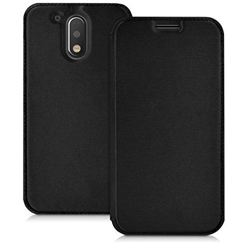 kwmobile Funda Compatible con Motorola Moto G4 / Moto G4 Plus - Carcasa con Tapa Tipo Libro - Case Protector en Negro