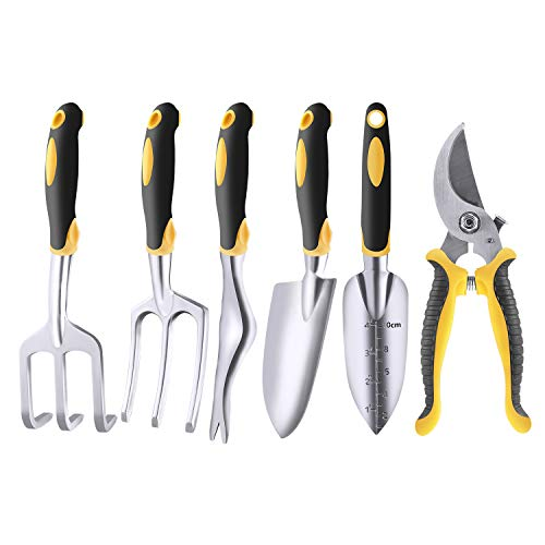 LARAH Garden Hand Tool Sets 6Pcs Aluminum Heavy Duty Garden Hand Tool Kits for Weeding Loosening Soil Digging Transplanting and More