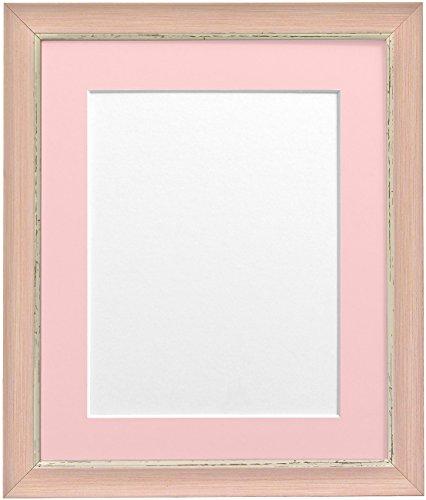 Frames By Post 6 x 4 inch Nordic fotolijst voor 4 x 3 inch groot beeld met lichtblauw-grijze passe-partout, antiek-look, roze
