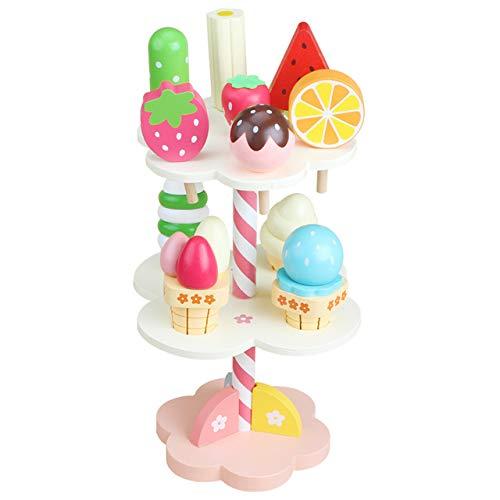 PPuujia Holzküchen-Set, Erdbeere, Nachmittagstee, Kochspielzeug, Kinder, Eis, Ständer, Nachmittagstee, pädagogisches Geschenk (Farbe: Eiscreme)
