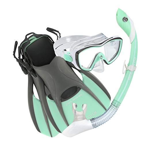U.S. Divers Diva Snorkel Set - Máscara Facial de Silicona Diva, esnórquel seco Isla con Boquilla de Silicona, Aletas de fácil Ajuste y Bolsa de Viaje - Verde Menta, Mediano (8-11)