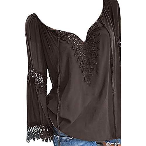 AmyGline Oberteile Damen Bluse Groß Größe Schulterfrei Spitze Einfarbig V Ausschnitt Kurzarm Hemd T-Shirt Top Freizeitbluse Sommerblusen Hemden Shirt