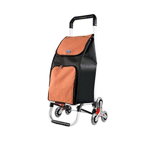 Carro de mano pequeño Carro de mano Carro plegable Escaleras de escalada portátiles Carro de la compra Carro de equipaje Camión de aluminio Camión de mano Durable (Color : Orange)