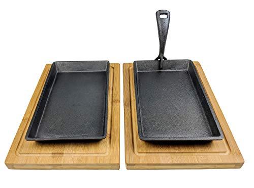 classement un comparer Sizzler set 2 bols à steak en fonte + 2 planches en bois