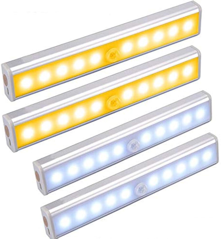 Sky God Bewegungs-Sensor-Licht, 4 Stück 10 LEDs Wiederaufladbare Nachtlicht, Sensor Schrank-Licht mit Stick-on Magnetstreifen für Schrank Schrank Schrank Treppen (warmes Wei und Wei)
