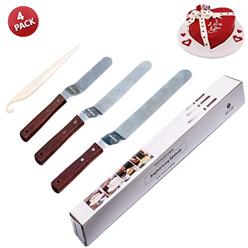 "Angled Icing Spatula, Stainless Steel Offset Cake Scraper Icing Spatula Set 6"" 8"" 10"" Bent Inverted Knife Pastry Decorating Stripping Tools Frosting Uneven Spatula Set"