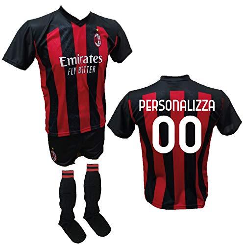 DND Di D'Andolfo Ciro Completo Calcio Maglia Personalizzabile Milan, Pantaloncino e Calzettoni Replica Autorizzata 2020-2021 Taglie da Bambino e Adulto (L (Adulto))