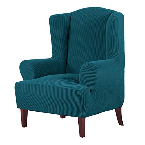 High Stretch Wingback Chair Slipcover Wing Chair Covers Wingback Chair Covers Wing Chair Slipcovers Furniture Covers for Wingback Chairs, Soft Thick Small Checked Jacquard Fabric, Deep Teal