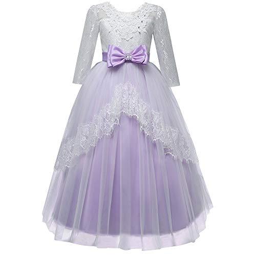 Longra Vestito da Ragazza Manica 3/4 Abito in Pizzo da Sera Sposa Princess Tulle Maxi Vestito Bambina Fantasia Vestite Carnevale Partito Compleanno 5-9T