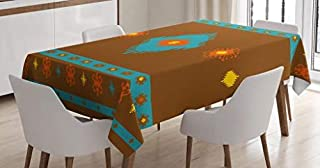 Native American Tablecloth by Ambesonne, Ethnic Geometric Design Aztec Inca Native Tribal Cultural Artwork, Dining Room Kitchen Rectangular Table Cover, 52W X 70 Inches, Dark Orange Aqua Red