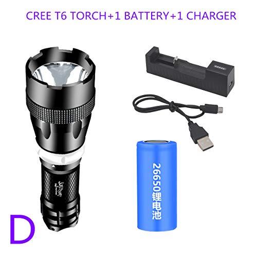 TONGTONG 1PCs 2000LM Q5 LED wasserdicht Taucher-Tauchens-Taschenlampe Tragbare Shallow Licht Wasserunterwasser-Blitz-Licht-Fackel,Einer,CREE T6 White 600 LM