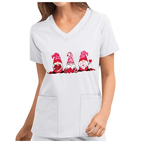 Damen V-Ausschnitt Schlupfhemd Kasack Kurzarm T-Shirts Tops mit Motiv Bedruckt Arbeitsuniform Weihnachts Valentinstag Pflege Uniform Arzt Berufsbekleidung