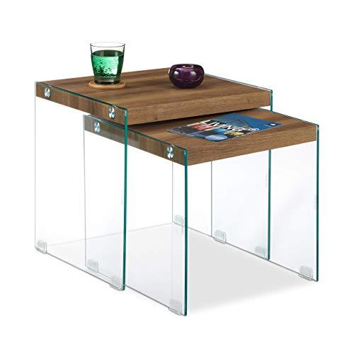 Relaxdays Satztische im 2er Set, flache Ablage im Wohnzimmer, aus Glas & MDF, eckige Beistelltische, 40 & 45 cm, braun
