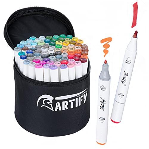 Artify - Juego de marcadores de arte a base de alcohol para artistas, 80 colores, rotuladores dobles con punta doble con estuche