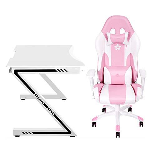 N/Z Life Equipment Pink Ergonomischer Gaming-Stuhl Niedlicher Bürostuhl im Kawaii-Stil PU-Leder-Renncomputer-Stuhl mit hoher Rückenlehne