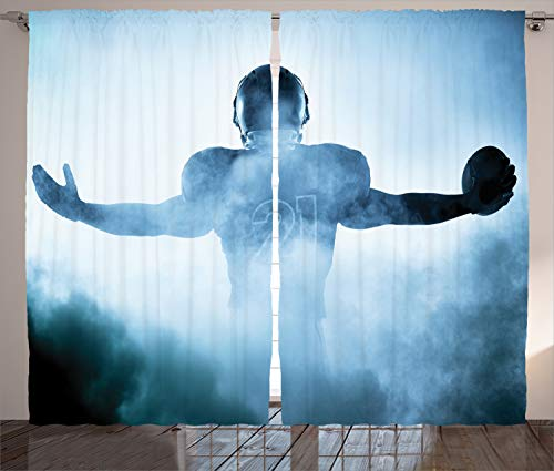 Ambesonne Football Decor Curtains by, Heroic Shaped Rugby Football Player Sports Shadow Standing in Fog Playground Photo, Living Room Bedroom Window Drapes, 2 Panel Set, 108 W X 84 L Inches, Blue