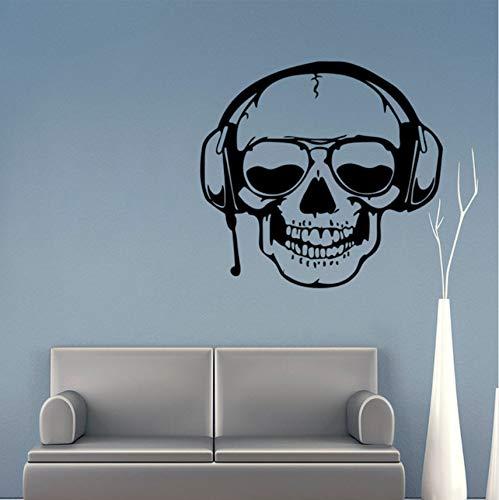 Lovemq 3D Wandaufkleber Mit Headset Musik Haushalt Abnehmbare Halloween Dekoration Maison Wohnkultur Ornamente Adesivo Wandbilder 57X60 Cm