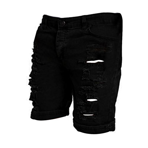 IZHH Men's Casual Jeans Destroyed Knee Length Hole Ripped Pants(Black,36)