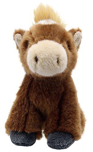 Lashuma Caballo de peluche sentado de 15 cm, peluche de pony, color marrón, de peluche suave